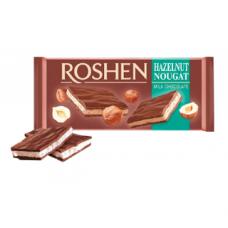 Млечен шоколад Рошен с пълнеж нуга с лешник Roshen Hazelnut Noougat Milk Chocolate